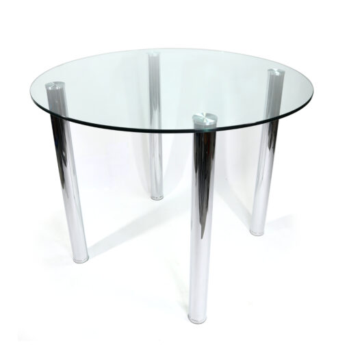 modern Round glass and chrome pub height bar height dining table