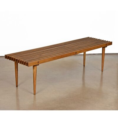mid century modern slat bench coffee table