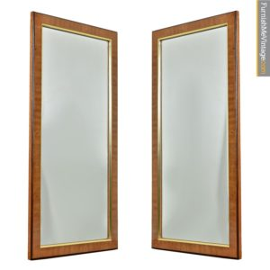 Hollywood Regency Burl Wood and Brass Drexel Heritage Avenues Mirror Set