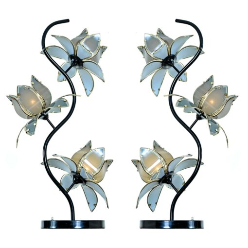 Anthony California Blue and Brass Black Lacquer Hollywood Regency Floral Lamps