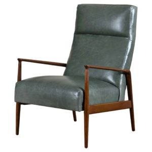 Highback Green Leather Ib Kofod-Larsen for Selig Lounge Chair