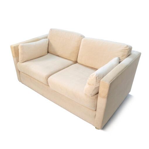 Beige tuxedo loveseat sofa