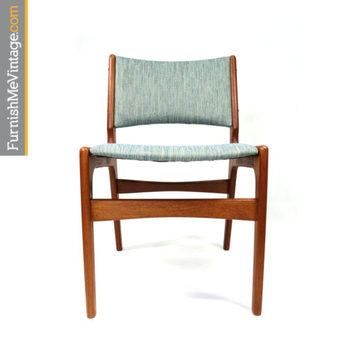 Blue Danish teak dining chairs
