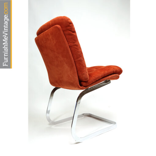 Roche Bobois suede and chrome cantilever chairs