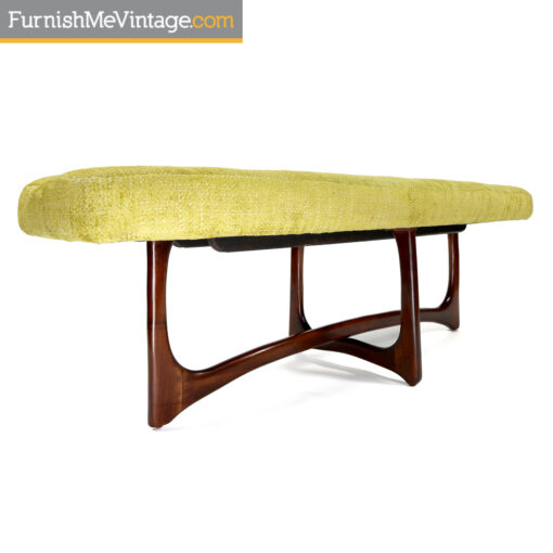 Adrian Pearsall style mid century modern walnut and green bench