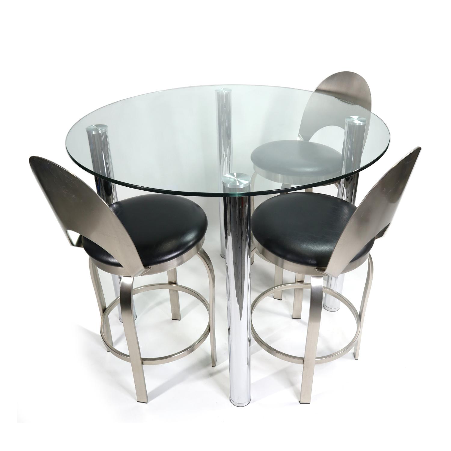 Picture of: Modern Round Glass Chrome Leg Bar Height Pub Height Dining Table