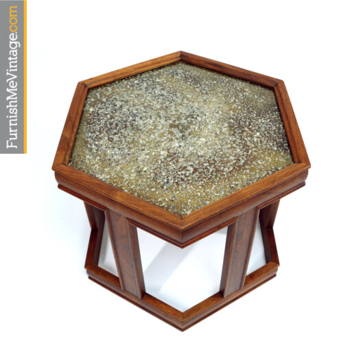 John Keal for Brown Saltman walnut hexagon enameled side tables