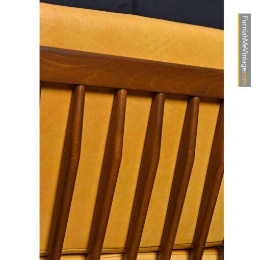 Yellow Leather Mid-Century Modern Kofod Larsen Selig arm chair