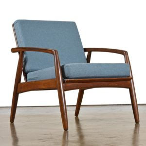Mid-Century Modern Svend Madsen Beech Wood Blue Lounge Chair