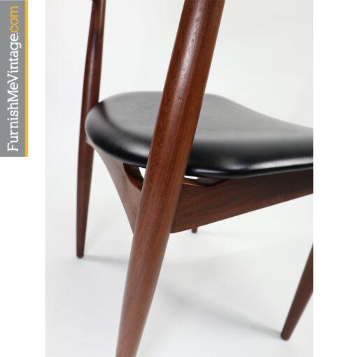 Danish teak bowed back dining chair by Jydsk