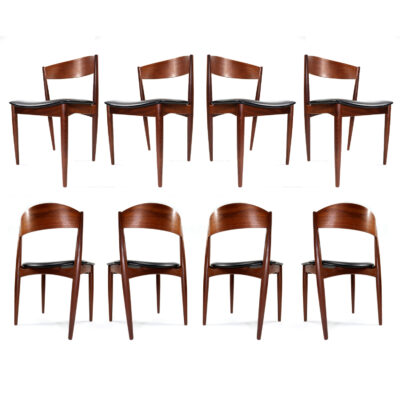 Danish teak bowed back dining chair by Jydsk