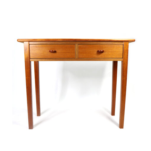 Glass and chrome Danish teak sofa table console with drawers
