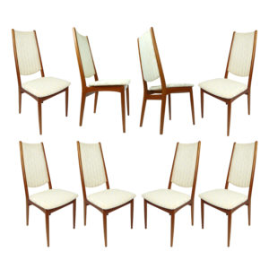 8 High Back Danish Teak Dining Chairs in Cream Color Fabric