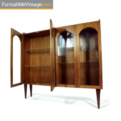 walnut china cabinet mid-century modern