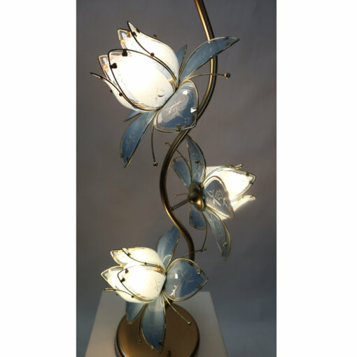 Blue glass flower lamp with gold base Anthony California