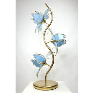 Anthony California Vintage Gold Lamp with Blue Etched Glass Flowers