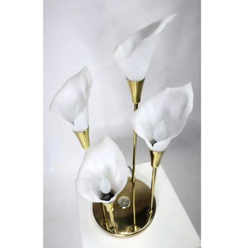 White flower Calla Lily brass gold lamp