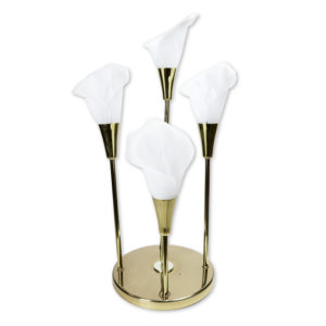 Vintage Calla Lily White Floral Lamp with Gleaming Brass Base
