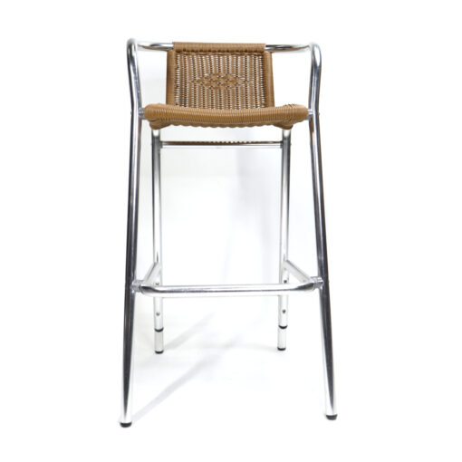 Modern outdoor bar stools polished aluminum chrome and wicker