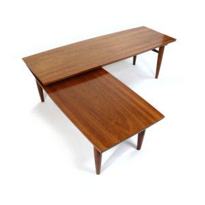 Refinished Mahogany Mid-Century Modern Pivoting Boomerang Swivel Coffee Table