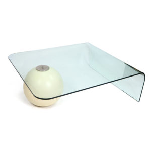 Modern Waterfall Curved Glass Coffee Table Balanced on White Ball