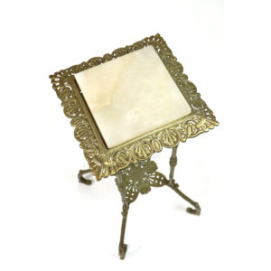 Art Nouveau Antique Brass Plant Stand Topped with Onyx