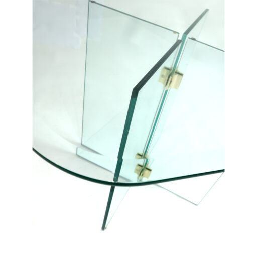 Pace Collection Leon Rosen rounded square and brass glass side table
