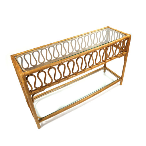 Vintage bohemian rattan sofa table console table