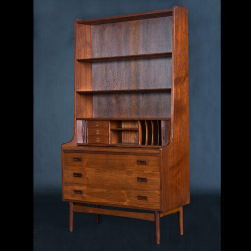 Pull-Out Desk Top Borge Mogensen Danish Teak Bookcase Tambour Door Secretary