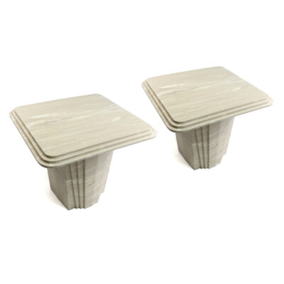 Italian Travertine Art Deco marble side tables
