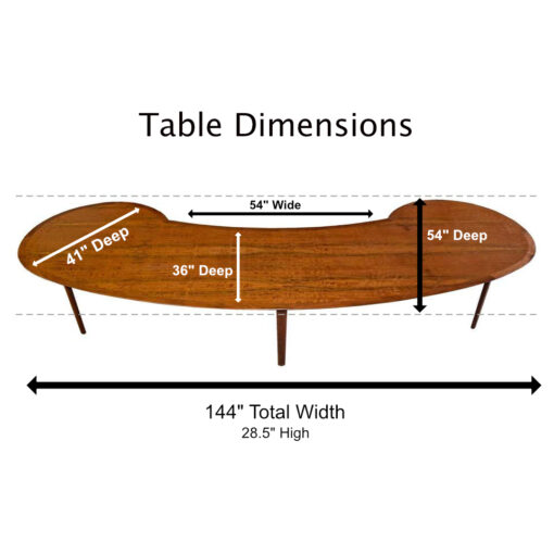 kidney bean shaped mahogany mid century modern dining table