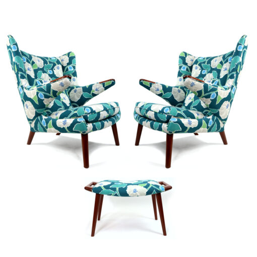 Hans Wegner Papa Bear Chairs with ottoman in blue and green floral print