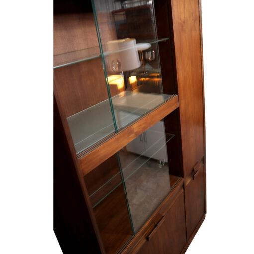 walnut mid century modern china cabinet hutch