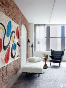 Will Ferrell's New York City Home decorated in mid-century modern furniture and art