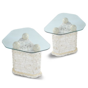 Maitland-Smith Style Mactan Tessellated Stone End Tables