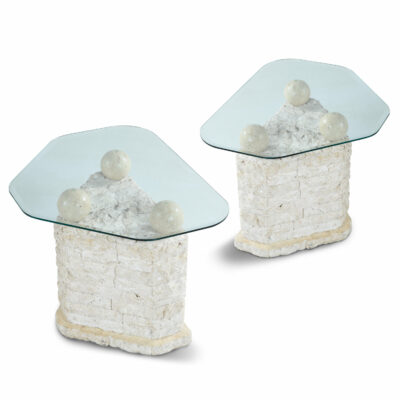 Macton tesselated stone side tables with glass tops