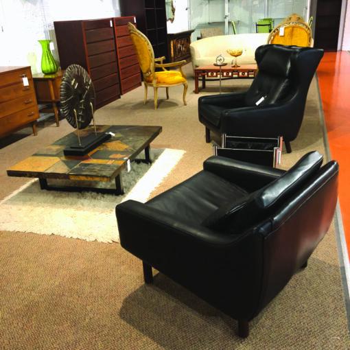 Black leather Danish Armchair