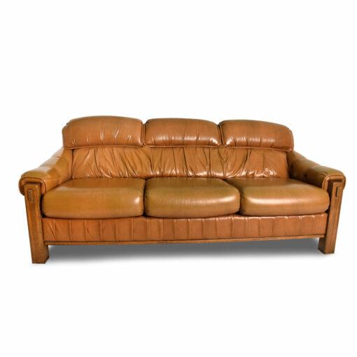 Vintage Generously Stuffed Butterscotch Snd Oak Sofa