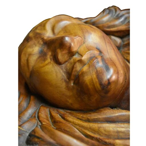 Sensual lovers monkeypod wood carved coffee table with glass top
