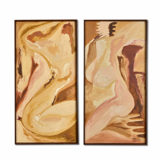 Henry Putney Abstract Female Figure Mid Century Modern Diptych Painting