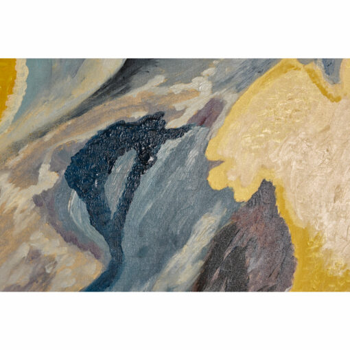 Mid Century Modern Abstract Expressionist Painting in Blue by Henry Putney. The painting features fields of blue, white and yellow and deconstructed botanical forms.