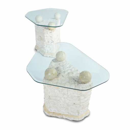 Tesselated stone side tables