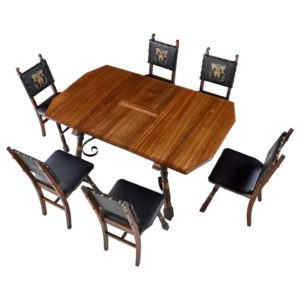 Medieval Gothic Revival Mahogany Dining Set with Seahorse Design