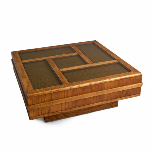 Large Square Cane and Glass Top Square Coffee Table Flyspeck Oak