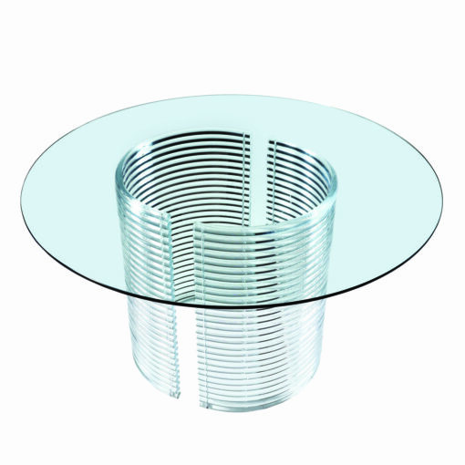 Round stacked lucite dining table. Clear Acrylic base.