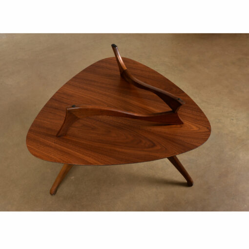 Triangular two-tier Vladimir Kagan Adrian Pearsall Style Walnut End Table