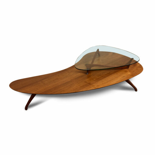 Two tier walnut and glass Vladimir Kagan and Adrian Pearsall style boomerang coffee table