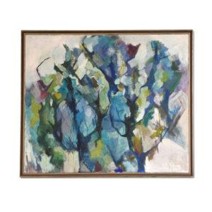 Vintage Charlotte Smith Cubist Indigo Forest Painting