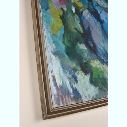 Mid Century Modern Cubist forest painting by Atlanta artist Charlotte Smith. The abstract image contains masses of blue, green, white and violet.