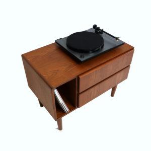 Mid Century Modern Danish Teak Record Player Media Cabinet